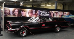 London Film & Comic Con 2017 entrance display with Batmobile