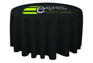 Round printed tablecloth front view