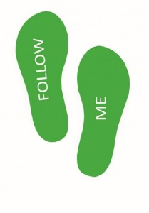 Footprint floor sticker follow me