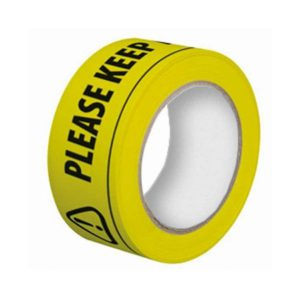 """Social distancing floor tape roll with message """"PLEASE KEEP A SAFE DISTANCE"""""""