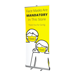 Roller banner with face mask message